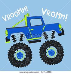 cartoon monster truck illustration for kids, vector, typography Cartoon Monsters, Cartoon Art, Monster Truck Bedroom, Toddler Crafts, Crafts For Kids, Monster Trucks, Truck Paint, Kids Vector, Boy Quilts