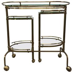 Three-Tier Brass Folding Bar Cart | From a unique collection of antique and modern bar carts at https://www.1stdibs.com/furniture/tables/bar-carts/