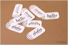 """used Corner Chomper 1/4"""" punch to round the corners and stamped each tag with a sentiment"""