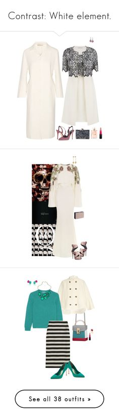 """Contrast: White element."" by srtagraham ❤ liked on Polyvore featuring Nina Ricci, Gina Bacconi, Oscar de la Renta, KOTUR, Swarovski, Chanel, MAC Cosmetics, Alexander McQueen, Giuseppe Zanotti and STELLA McCARTNEY"
