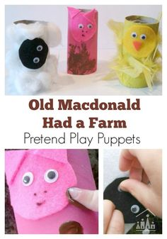 Make farm animal puppets to go along with the popular children's nursery rhyme Old Macdonald Had a Farm. A great junk modelling project for preschoolers using scraps of felt and cardboard tubes (TP Rolls)