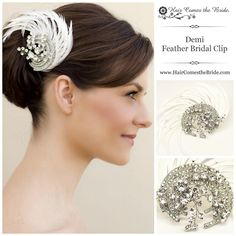 Demi Vintage Rhinestone Feather Bridal Hair Clip by Hair Comes the Bride