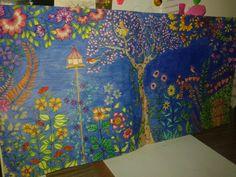 Colorido com giz de cera e lápis aquarelável.