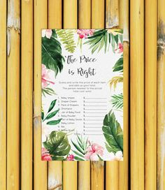 Price is Right Baby Shower Games Pink Flower Girl Tropical