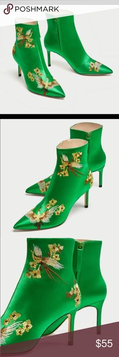 """NWT Zara Embroidered Satin High Heels Embroidered Satin ankle boots with embroidered detailing in a combination of colors. The feature pointed toes, lined stiletto heels and side zip fastening. Heel high 3"""" or 7.8 cm Color: Green  Ref: 6065/201 Zara Shoes Ankle Boots & Booties"""