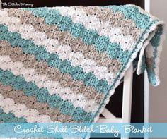 Crochet Shell Stitch Baby Blanket by The Stitchin' Mommy www.thestitchinmommy.com