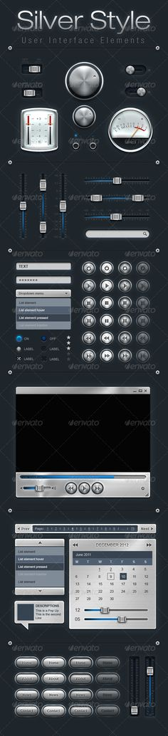 Silver Style User Interface Elements