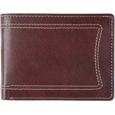 Daxx Men's Topstitched Bi-fold Genuine Leather Wallet, Red