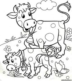 Dairy Cow Coloring Pages . Discover our big assortment of Coloring pages, with several groups and difficulties degrees. An ideal Anti-stress activity for you personally. Farm Animal Coloring Pages, Coloring Pages For Boys, Printable Adult Coloring Pages, Coloring Book Pages, Boy Coloring, Farm Quilt, Cow Colour, Easy Drawings, Stuffed Animal Patterns