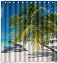 "Hot Sale Sandy Tropical Paradise Beach with Palm Trees and the Sea Ocean Theme Theme 100% Polyester Picture bathroom curtain Shower Curtain (66"" x 72"" ) Shower Rings Included with Hooks Funny Shower Curtain http://www.amazon.com/dp/B01ARG2M70/ref=cm_sw_r_pi_dp_DHE9wb0VX9DMA"