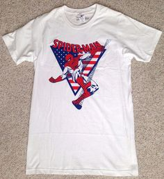 new SPIDER-MAN AMERICAN FLAG TEE White&Red/Blue Stars And Stripes MENS (SM)Tall #Optimus #GraphicTee