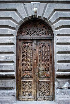 Carved Wooden Door - Abovyan Poghots - Yerevan, Armenia by jrozwado, via Flickr