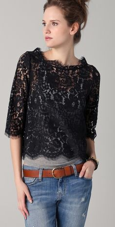 36 Lace Blouses For Starting Your Winter - Fashion Trends - Modest Fashion, Fashion Outfits, Fashion Trends, Trending Fashion, Bluse Outfit, Black Lace Tops, Black Lace Top Outfit, Black Lace Blouse, Casual Skirt Outfits