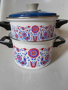 70er Jahre Topf Kochtopf Set Muster Pril Blumen Stil Dekor 70s Pop cooking pot
