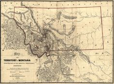 1865 Map of MONTANA Quality Historic Print United by StoneyPrints, $15.80