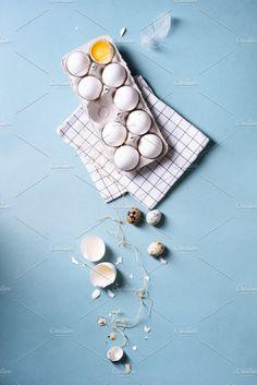 chicken eggs & quail eggs by Iuliia Leonova on @creativemarket