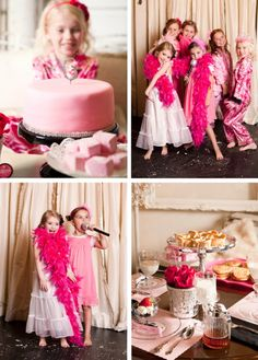 Pajama glam party- I know these pics are of kids but I think you could get some great pics throughout the night if you bought a bunch of pink boas and had all of the guests come in pink/black and white attire
