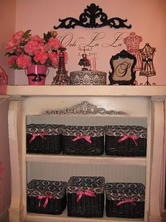 The Patriot Homeplace: Samantha's Parisian Barbie Room Makeover Reveal! So many cute ideas for a little girl's room.  She used a old fireplace mantle to make this cute shelving unit.  :)  Love!