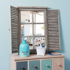 shuttersrepurposed Wooden mirror H 71 cm CO . Teen Furniture, Hallway Furniture, Sideboard Furniture, Unique Furniture, Repurposed Furniture, Repurposed Shutters, Plastic Shutters, Indoor Shutters, Diy Shutters