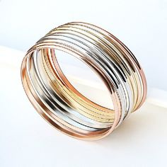 Set of 9 Stainless Steel Bracelet Bangle Value Pack Silver/rose Gold/gold-tone Tri-color