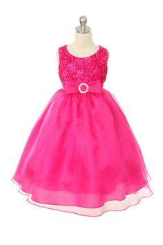 Beautiful Party Dresses Store - Fuchsia Rosette Tape with Organza Skirting and Rhinestoned Clasp Dress by My Best Kids, $120.00 (http://www.beautifulpartydresses.com.au/fuchsia-rosette-tape-with-organza-skirting-and-rhinestoned-clasp-dress-by-my-best-kids/)