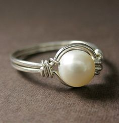 Pearl Ring Modern Pearl Jewelry Wire Wrapped Ring Sterling Silver and Freshwater Pearl O Loop on Etsy, $20.00