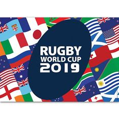 An exciting, colourful poster, featuring flags of the countries participating in the Rugby World Cup. 2019 Rwc, South African Rugby, Rugby Union Teams, Poster Decorations, International Flags, All Blacks, Rugby World Cup, Party Packs, Banquet