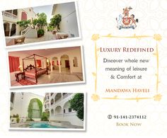 Discover a whole new meaning of leisure & comfort at Mandawa Haveli. Get Bookings Now!! #Heritage #Hotel #Royal #comfort #leisure #resort #Vacations #WeekendGetaway