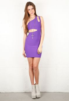 The Boulee Ciara Sleeveless Scuba Dress' asymmetrical design and bright purple color ensures you'll stand out in Vegas. Perfect for a night at Marquee. Available at Monogram on P2.