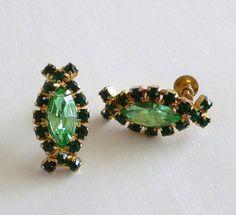 Two Tone Green Rhinestone Earrings by MaisonChantalMichael on Etsy