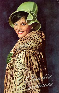 Claudia Cardinale in leopard coat. vintage fashion