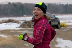 Sandy C. toughing out the MidWinter Classic 10 Miler in Maine in her Tough Chick Top!