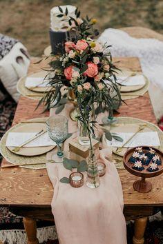 Boho bridal shower inspiration for your bride tribe table se Bridal Shower Tables, Bridal Shower Centerpieces, Shower Inspiration, Wedding Inspiration, Bridal Shower Photography, Boho Wedding, Bohemian Weddings, Wedding Dress, Bohemian Bride