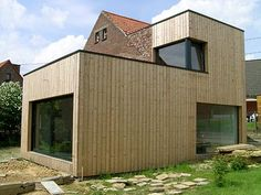 houtskeletbouw aanbouw Garden Room Extensions, House Extensions, Minimal Architecture, Facade Architecture, Norway House, Building Extension, Wooden Facade, Types Of Houses, Building Design