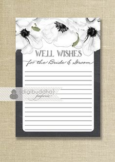 Chalkboard Anemones Advice Card INSTANT DOWNLOAD Black  White Bridal Shower 5x7 Well Wishes for the Bride and GroomDIY Printable pdf - Leona Style Available at digibuddha.com