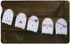 Halloween Printable Ghost Garland by Ginger and George. Kids can decorate them themselves. Fun!