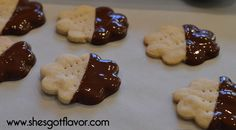 Buttery Almond Shortbread Cookies Dipped in Dark Chocolate | She's Got Flavor
