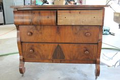 Before picture - Refinished Dresser  - The back of this dresser says Made expressly for The Fair - Chicago.