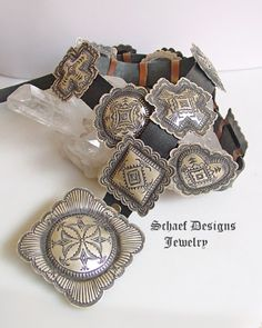 Vincent Platero, Navajo, artist signed, sterling silver hand stamped concho belt | Vintage Collection