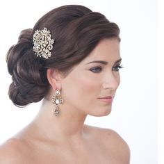 Rosetta Antique Gold Luxe Bridal Comb - Bridal Jewellery - Crystal Bridal Accessories