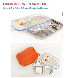 Stainless Steel Food Snack Tray PE Cover Hygienic for Kids Made In Korea (1pc)