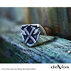 Axe ring for men, designed and made by deVos Jewellery. Gold Coast, Australia.
