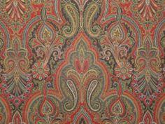 P Kaufmann Paisley Hunter Garnet Cotton Multipurpose Drapery Upholstery Fabric