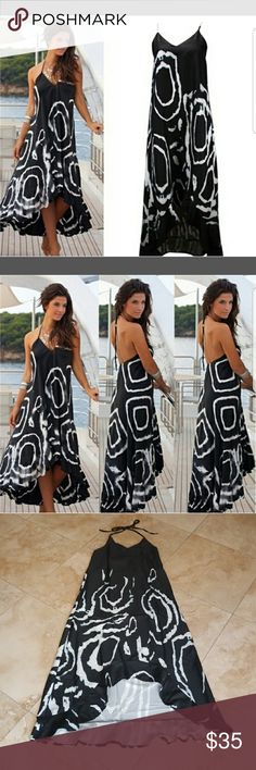 ❤ 🖤NEW SEXY NO NO MAXI ❤🖤 SEXY BLACK BOHO SUMMER BEACH LONG MAXI! SIZE L MORE LIKE MED/SMALL  BUST MEASURES 15 INCHES LAYING FLAT/ TOP IS LINED/ ELASTIC BACK HI LOW MAXI WITH RUFFLE AT THE BOTTOM   NOTE/ THIS IS NOT FOR BIGGER BUSTED WOMEN!:( IF YOU HAVE A SMALLER CHEST THIS WILL LOOK GREAT ON YOU ! LENGTH 47 INCHES IN BACK  36 INCHES IN FRONT! MATERIAL/ POLYESTER Dresses High Low