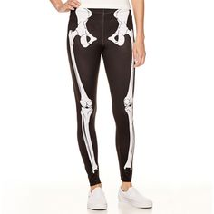 Halloween Leggings ($12) ❤ liked on Polyvore featuring pants, leggings, white pants, white leggings and white trousers