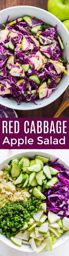 My Sister Alla's Red Cabbage Salad With Apple Is Loaded With The Best Autumn Ingredients. She Sneaks Sauerkraut Into Her Salad, Making It Like A Red Cabbage Slaw. One Of Our Favorite Red Cabbage Recipes Red Cabbage Recipes, Red Cabbage Salad, Ham Salad, Soup And Salad, Salad Chicken, Shrimp Salad, Spinach Salad, Chicken Pasta, Fruit Salad