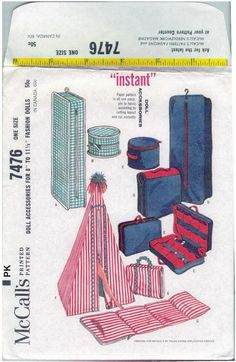 Vintage 1964 McCalls Sewing Pattern..7476..Instant Doll Accessories