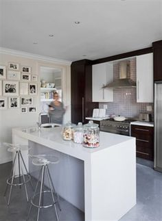 An outdated and dusty kitchen is opened up and simplified making for the perfect kitchen makeover. A hub to socialise as well as cook in! Decor, Table, Home, Makeover, Furniture, Home Pictures, Kitchen, Kitchen Makeover