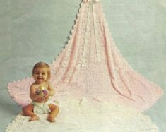 Baby Matinee Jacket and Christening Shawl, instructions for and yarn for sizes 17 - 19 ins - PDF of Vintage Knitting Pattern Knitting Terms, Double Knitting, Baby Knitting Patterns, Baby Patterns, Moss Stitch, Seed Stitch, Baby Shawl, Sport Weight Yarn, Cast Off