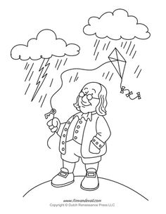 Free, printable Benjamin Franklin coloring page for kid